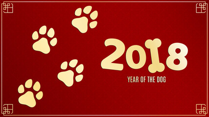 Year of the dog. Golden traces in grunge style. Numbers on a red background with a pattern. Chinese zodiac. The symbol of the year. Vector illustration