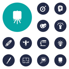 Set Of 12  Icons Set.Collection Of Pen, Bulb, Brush And Other Elements.