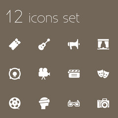 Set Of 12 Entertainment Icons Set.Collection Of Camera, Photography, Pass And Other Elements.