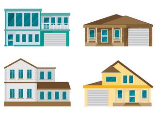 Flat Residential House set. Vector illustration.