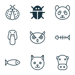 Nature Icons Set. Collection Of Kine, Seafood Skeleton, Kitten And Other Elements. Also Includes Symbols Such As Duck, Night, Fish.