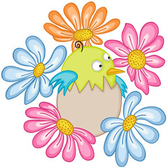 Baby bird in egg with flowers