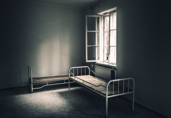 Dark room in the abandoned house