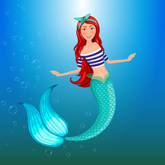 Mermaid in summer clothes. Isolated object.