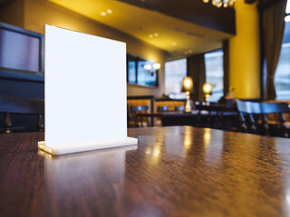Mock up Menu frame on Table interior Bar Restaurant Cafe table seats