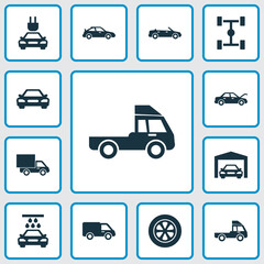 Car Icons Set. Collection Of Transport Cleaning, Convertible Model, Auto And Other Elements. Also Includes Symbols Such As Tire, Convertible, Cabriolet.