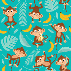 seamless pattern with monkey on blue background - vector illustration, eps