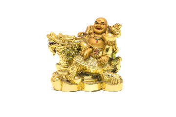 Happy Buddha - Chinese God of Happiness sit on dragon and tortoise shell on white background.