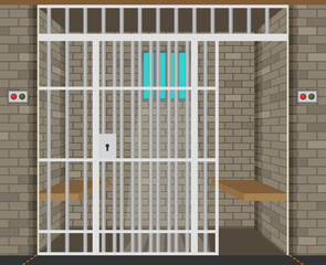 Scene with prison room. Flat illustration