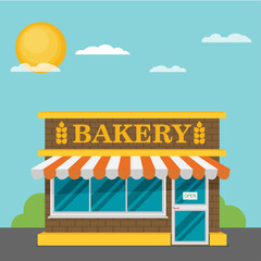 Facade of bakery flat vector.