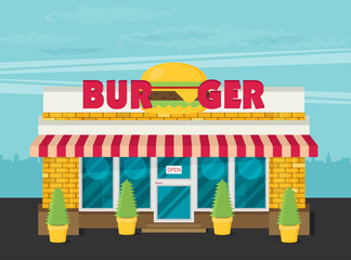 Facade of burger shop flat vector.