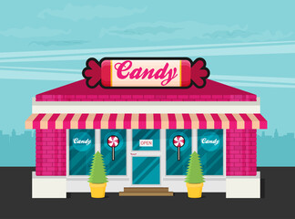 Facade of candy shop flat vector.