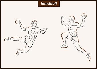 Set of a vector illustration shows a handball player in the attack. Sport. Handball