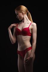 Sexy girl in underwear posing in studio
