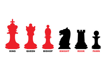 Chess pieces. King, queen, bishop, knight, rook and pawn icon set