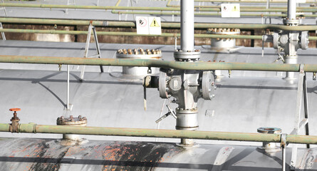 tanks for storing natural gas in the large industrial plant with