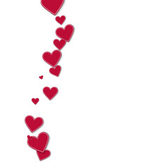 Cutout red paper hearts. Left wave on white background. Vector illustration.