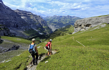 Hikers at Kleine Scheidegg, Grindelwald, Bernese Oberland, Switzerland, Europe