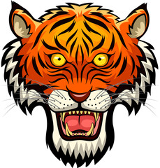 Tiger mascot face. Vector illustration