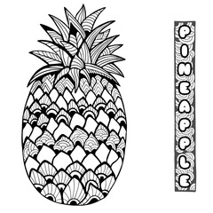 Pineapple. Doodle and zentangle style. Hand drawn. Vector illustration.
