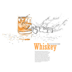 Illustration with a glass of whiskey, ice cubes, splashes and drops of water.