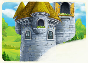 cartoon scene of castle tower with opened window nobody - space for text