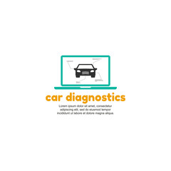 Template logo for computer diagnostics of cars