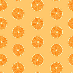 Slices of orange fruits. Hand drawn seamless pattern. Doodle and zentangle style. Vector illustration.
