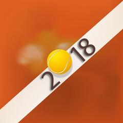 2018 - tennis - présentation - vœux - fond, année - ligne - compétition - balle