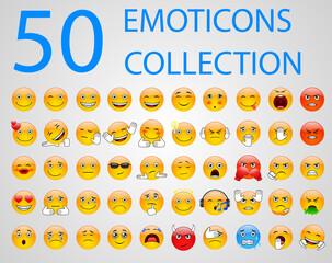 Set of emoticons, emoji isolated on white background. Vector illustration