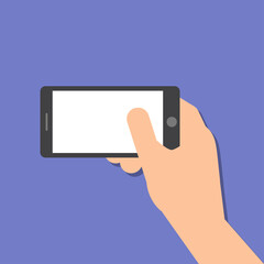 hand holds a smart phone in horizontal position