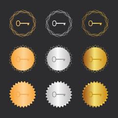 Schlüssel retro - Bronze, Silber, Gold Medaillen