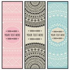 Template of a hand drawn backgrounds. Ethnic mandala ornament. Can be used for greeting card, frame, business card, print.