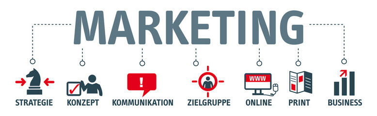 Banner Marketing Konzept - Piktogramme