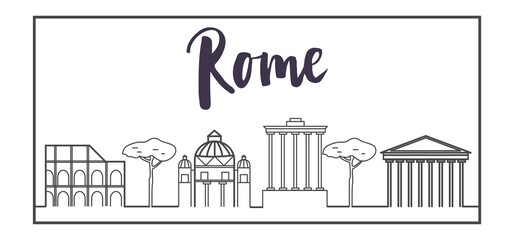 Line art rome architecture, italy buildings vector illustration, travel concept banner vector. in modern line style. for business and advertisement web sites. app and web design elements