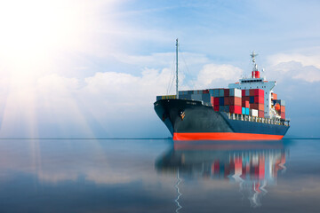ship with container import export goods.