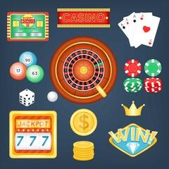 Set of casino objects. Cartoon style. Vector illustration