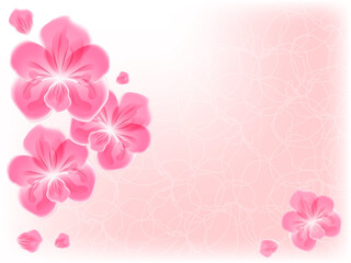 Pink orchid on beige background with filigree loop