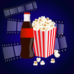 Cinema background with popcorn box, film strip