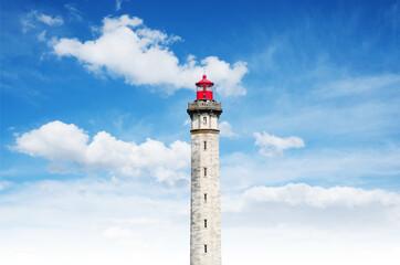 Foto auf Leinwand Leuchtturm phare tour ile de ré phare des baleines mer océan bretagne marin ciel nuage lampe éclairer diriger sécurité maritime tourisme découvrir visite