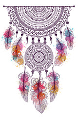 Illustration with hand drawn dream catcher. Doodle drawing
