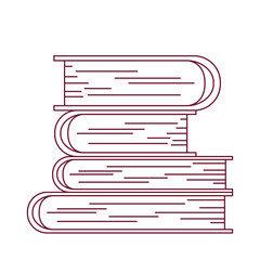 dark red line contour with stack of books vector illustration