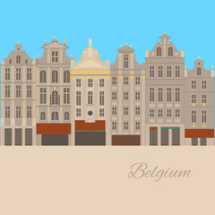 City sights. Brussels architecture landmark. Belgium country flat travel elements. Famous square Grand place.