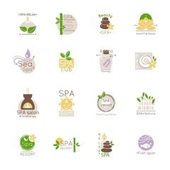 Set of spa logo and emblems. Vector illustration. Flat style.