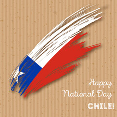 Chile Independence Day Patriotic Design. Expressive Brush Stroke in National Flag Colors on kraft paper background. Happy Independence Day Chile Vector Greeting Card.