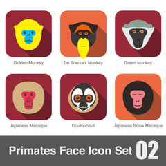 cute monkey face flat icon set, vector illustration