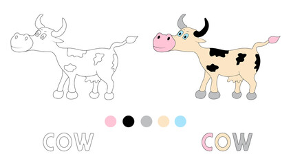Coloring page for children with cow and hand draw letters.