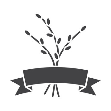 Willow branches with ribbon glyph icon