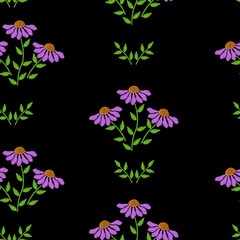 Seamless pattern with embroidery stitches imitation flower and green leaf