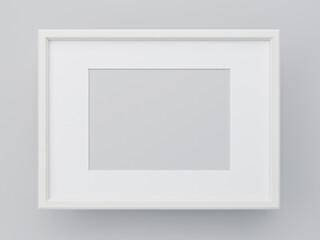 Blank frame on gray wall, render illustration